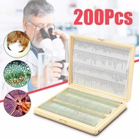 Biology 200 PCS Prepared Biological Basic Science Microscope Glass Slides School and Laboratory English Label Teaching Samples