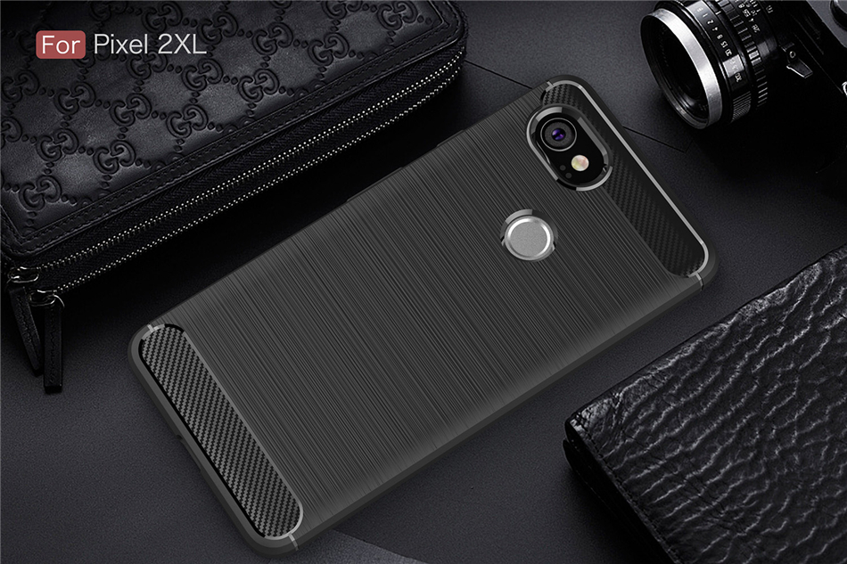 For Google Pixel 1 2 3 XL Rugged Armor Case Carbon Fiber Texture Slim Resilient Shockproof Soft Silicone Coque Fundas Cover