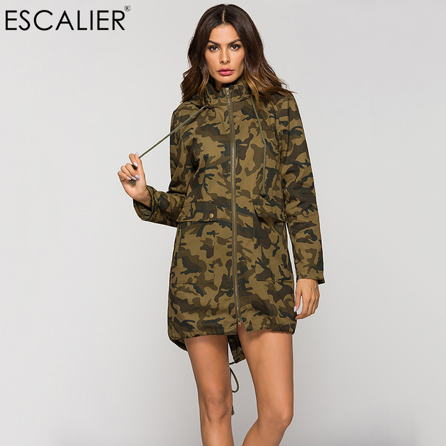 4ff4734c7c768 ESCALIER Spring Women Cotton Long Style Jacket Stand Collar Bomber Loose Camouflage  Coat Pocket Zipper Hooded Outwear Jacket