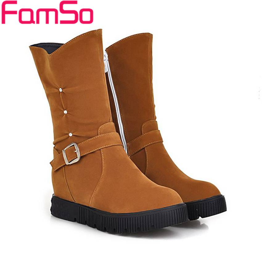 Free shipping 2016 new Arrival font b Women b font Boots Buckle Mid calf Half Boots