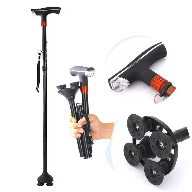 NEW 2018 Outdoor Aluminum folding old man's walking stick elderly with light four-foot walking stick walking stick anti-skid