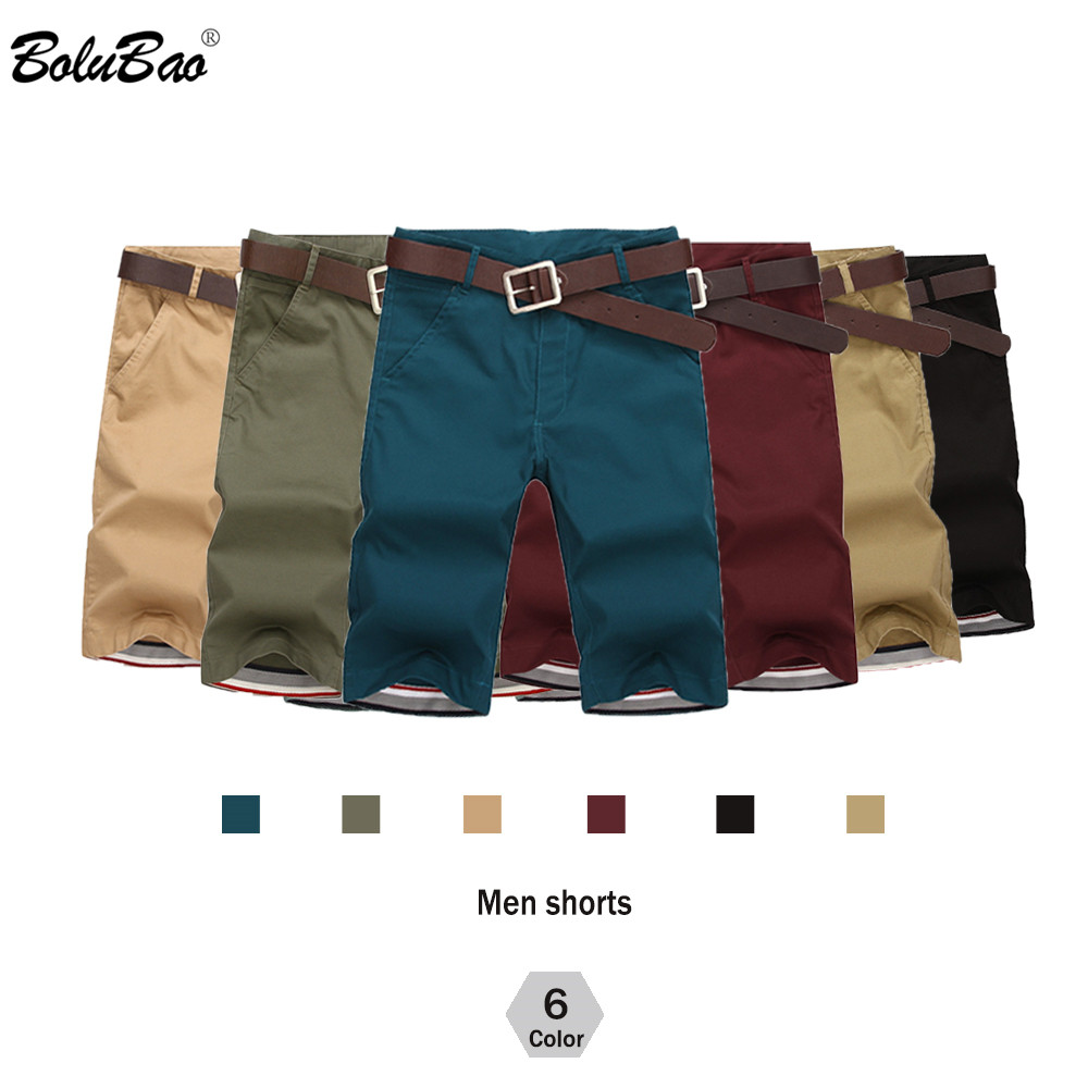 BOLUBAO Brand Men Shorts New Summer Mens Fashion Solid Color Casual Shorts Male Bermuda Shorts( No Belt)