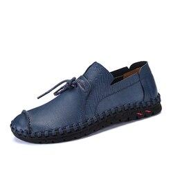 321d1cd3d8 2018 Primavera Homens de Negócios Sapatos de Couro Genuíno Elegante Costura  À Mão Confortável Escritório Homens