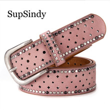 SupSindy woman s belt punk Pin buckle Vintage Rivet luxury lady s original leather belts for
