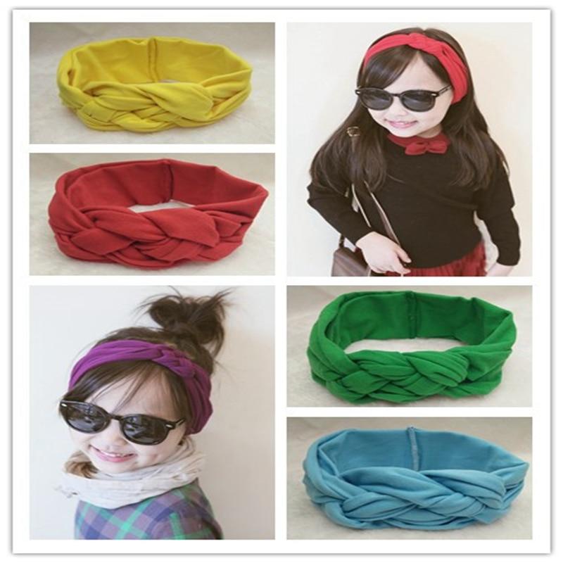 Free Shipping 1pcs 12colors Fascinator Knot Headband Girl Headwraps Turbans Hairband Cotton Knotted Headband
