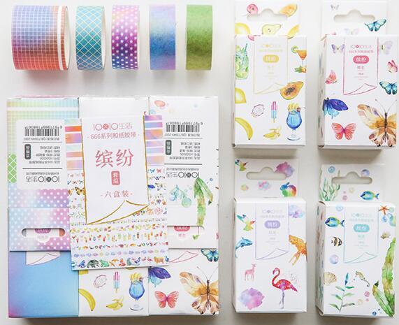 Green Plant Washi Tape Set Rainbow Colored Tape Girls Pink Scrapbooking Tape 18 Rolls/set