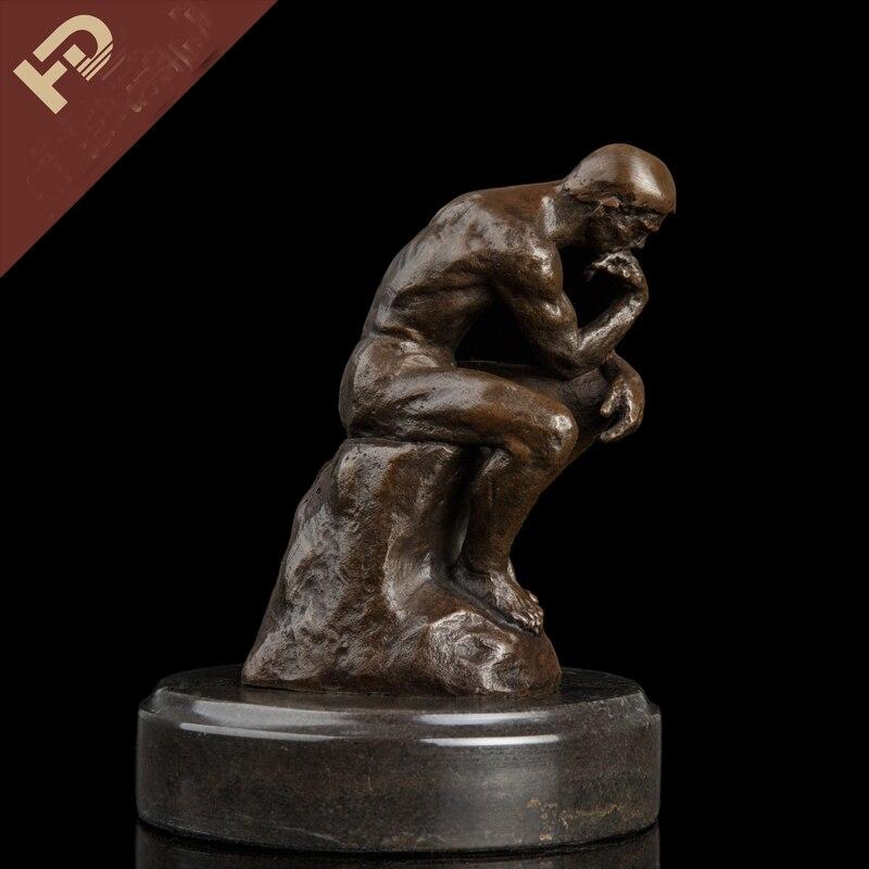 24 CM # TOP COOL D'origine ART #2020 maison salon NU HOMME MÂLE ART corporel GAY ART le Penseur bronze sculpture statue
