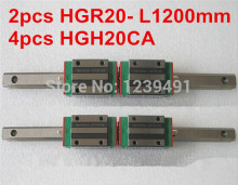 2pcs HIWIN linear guide HGR20 -L1200mm with 4pcs linear carriage HGH20CA CNC parts