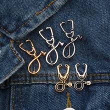 Высокое качество 2 стиля Броши Доктор Медсестры стетоскоп брошь медицинские ювелирные изделия Эмаль Булавка джинсовые куртки воротник значок булавки кнопка