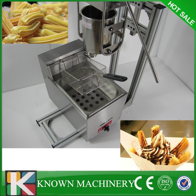 Free shipping Manual Spanish capacity 3L churro maker machine with 6L gas fryer commercial deluxe stainless steel 3l churro maker 6l electric fryer manual spanish churros making machine capacity 3l
