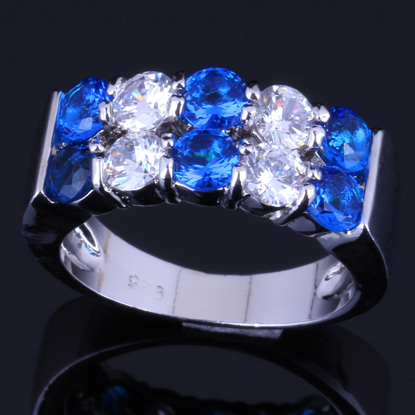 Heavenly Round Blue Cubic Zirconia White CZ 925 Sterling Silver Ring For Women V0082 in Rings from Jewelry Accessories