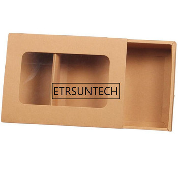 100pcs/lot kraft paper gift boxes sock scarf tea candy packaging box with window 18.3*13.5*4.5cm