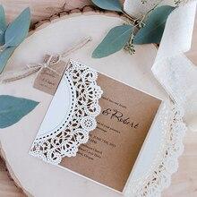 1 упаковка дизайн ленты цветок лук лазерная резка, для свадьбы Пригласительные открытки на заказ Whtie Западный Ковбой Тип печати кружева пригласите