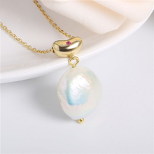 womens pearl necklace fashion 925 sterling silver women red zircon necklaces  Natural Shaped Baroque Pearl Necklace Female