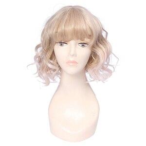 Image 2 - L email peruk Ince Hava Saçak Patlama Kadın Peruk 5 Renk 40 cm/15.74 inç Kısa Kıvırcık Isıya dayanıklı Sentetik Saç Peruk Cosplay Peruk