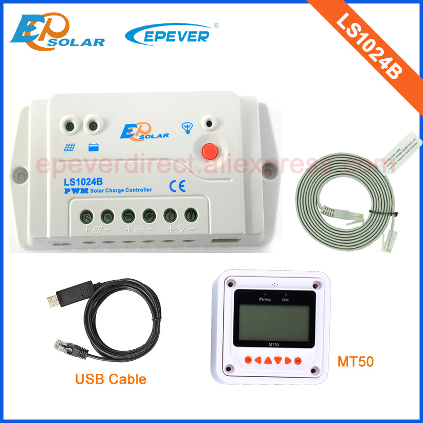 10A PWM portable charging regulator LS1024B 12v 24v auto work with white MT50 remote meter and USB cable connect10A PWM portable charging regulator LS1024B 12v 24v auto work with white MT50 remote meter and USB cable connect