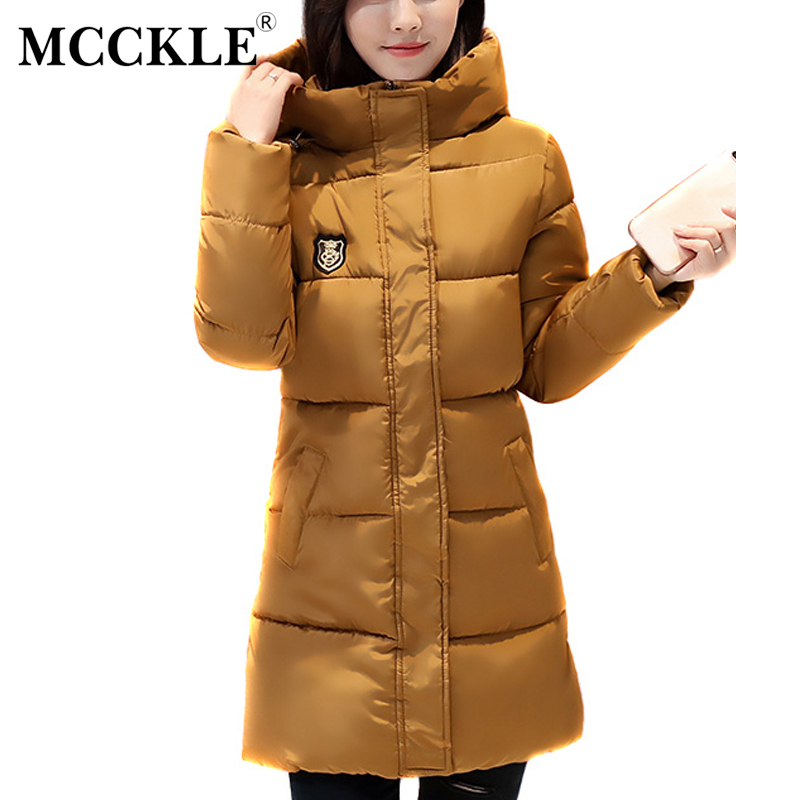 MCCKLE Warm Long Sleeve Ladies Basic Coat jaqueta feminina women parkas cotton Women Winter Hooded Jacket 2017 New Arrival qazxsw 2017 new winter cotton coat women padded jacket hooded long parkas for girl thick warm winter coat jaqueta feminina hb274
