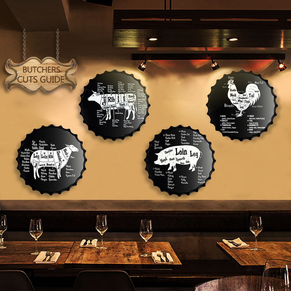 Pork Chicken Beef Meat Cuts Cow Cattle Metal Poster Home Kitchen Diagram Symbol Wall Decor Butchers Guide Chalkboard Sign Plaques In Signs From