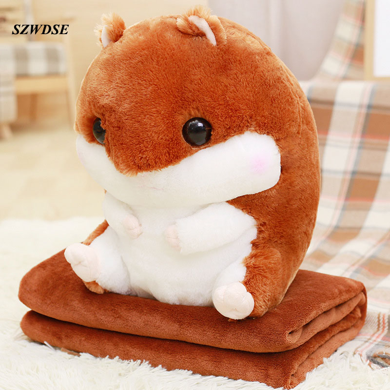 NEW 40cm Childrens plush soft Hamster toy pillow+soft Blanket stuffed pillow cute animal car cushion kids sleeping toy