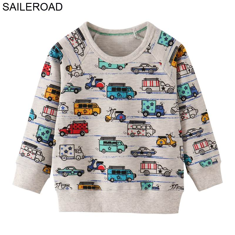 SAILEROAD 2pcs Sweatshirt for Kids Cartoon Vehicle Car Warm Sweatshirt for Children Long Sleeve T Shirts Autumn Boys Clothes 4Yr 4