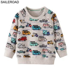 Image 4 - SAILEROAD 2 adet Kazak Çocuklar için Karikatür Araç Araba Sıcak Kazak Çocuklar için Uzun Kollu T Shirt Sonbahar Erkek Giysileri 4Yr