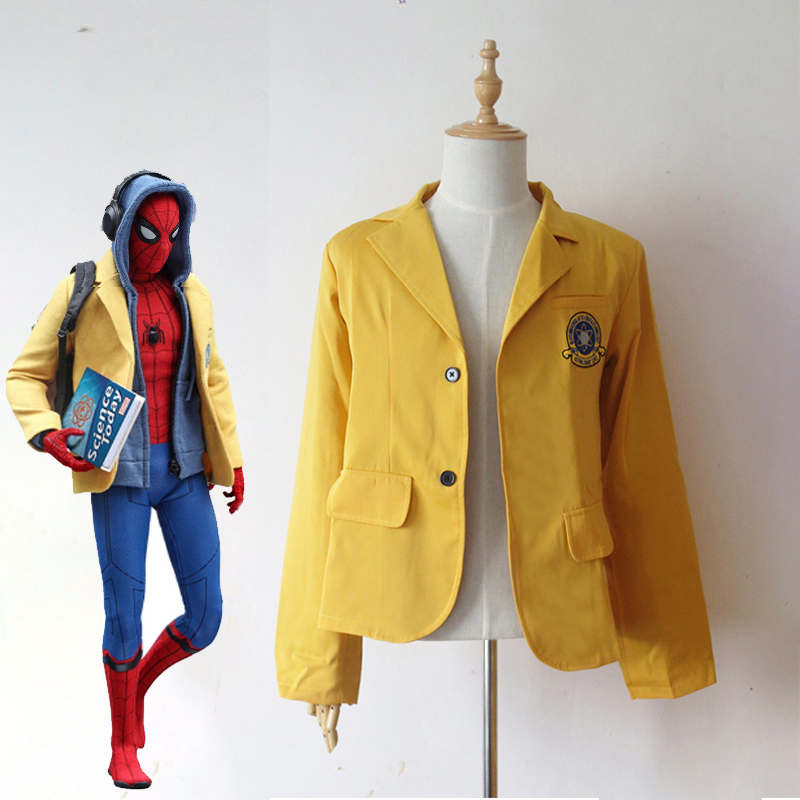 Spider-Man Homecoming Peter Parker Yellow Jacket Halloween Superhero Spiderman Cosplay Costume School Uniform Blazer Custom Made
