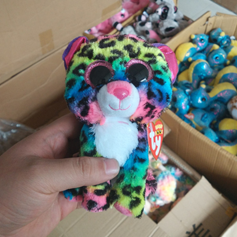 b9d4de94013 Ty Beanie Boos Color leopard 6inch Big Eyes Beanie Baby Plush Stuffed Doll  Toy Collectible Soft