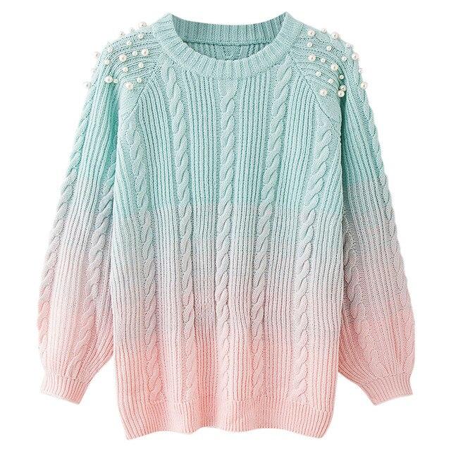 Wipalo круглый вырез горловины Для женщин свитер с длинным рукавом из бисера Цвет блокирования Свитера Осень Дамы пуловер верхняя одежда вязаный свитер
