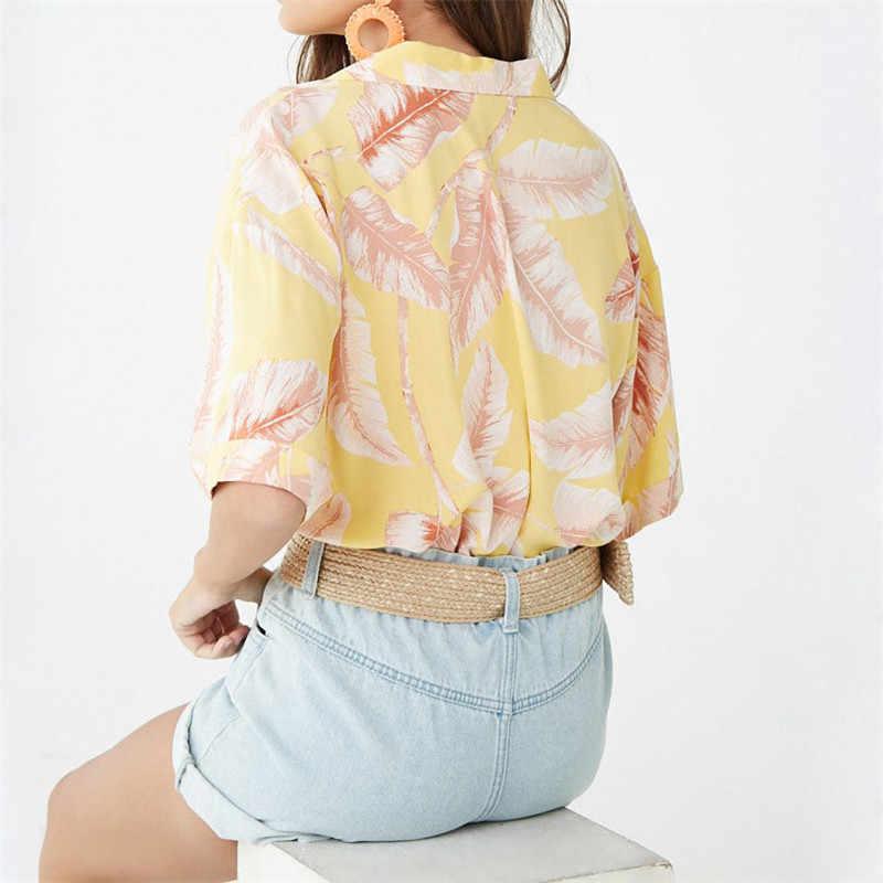 קיץ חולצה נשים מקרית קצר שרוול שיפון חולצות Boho סגנון פרחוני הדפסת חולצות תורו למטה משרד גבירותיי חולצות בתוספת גודל