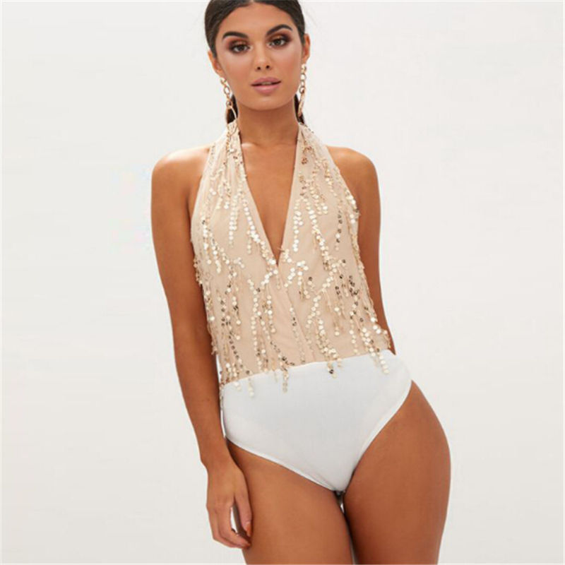 Women Jumpsuits Fringed Sequined Halter Slimming Jumpsuit for Women 2018 New Brand Ladies Sexy Jumpsuit Skinny S M L XL
