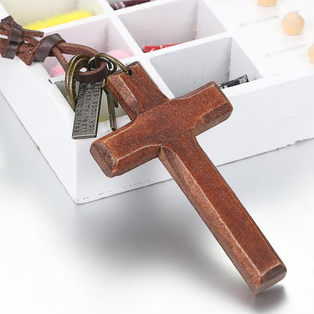 brixini.com - The Classic Vintage Wood Cross Necklaces