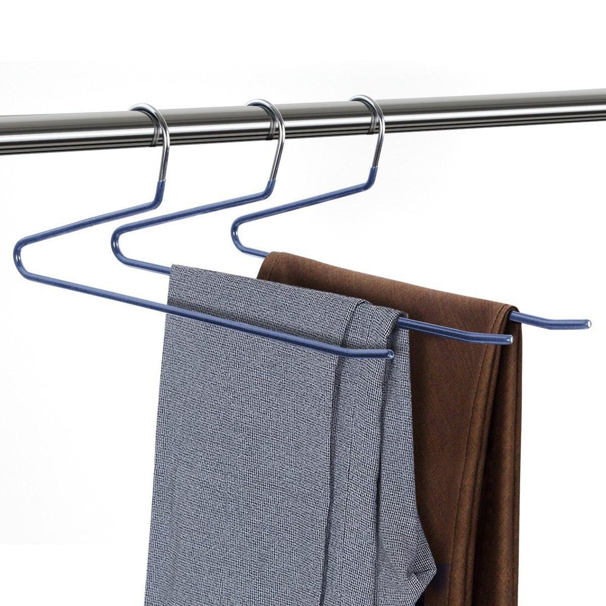 1 шт. Нескользящие брюк Вешалки стойки S Тип Multi-Слои металла Брюки для девочек брюк шкаф Мокрый сухой вешалка для сушки сохранить организато... ...