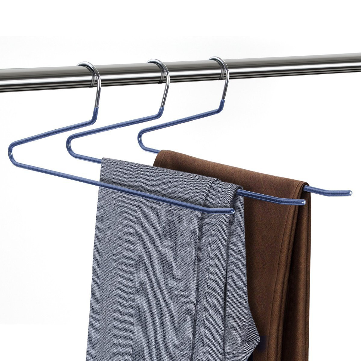 1PC Non Slip Trouser Hangers Rack S Type Multi -Layer Metal Pants Trouser Wardrobe Wet Dry Drying Hanger Save Space Organizer ...