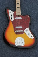 Factory custom 22 frets tobacco sunburst electric guitar with red pearl pickguard 2 single pickups,can be customized