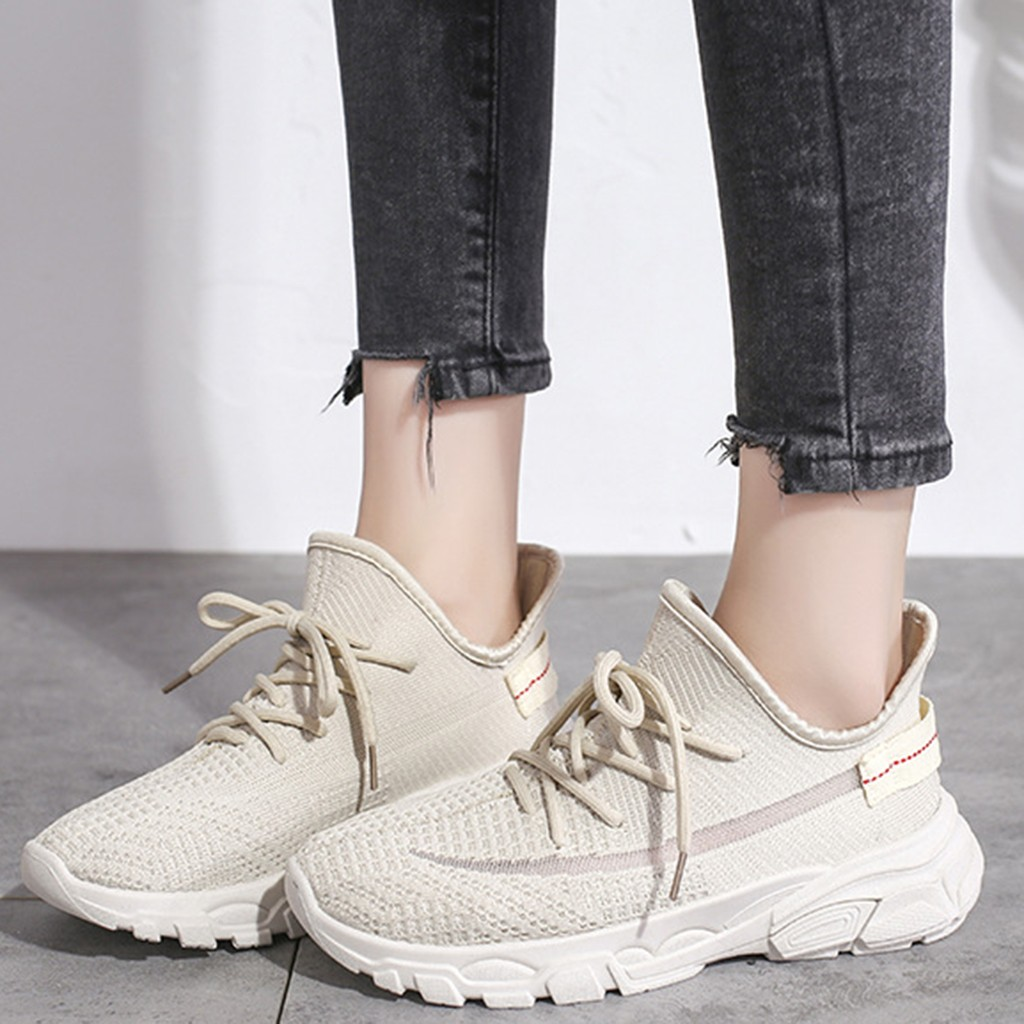 Women Sneakers Woven Running Mesh Lace-Up Casual Breathable off white Shoes Flying Lace-Up Sewing Wedges Zapatos Mujer sandals