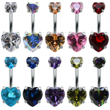 Heart Crystal Belly Button Rings 14G Belly Bar Navel Piercing Jewelry Hot Summer Women Jewelry CZ Navel Piercing  Belly Nombril