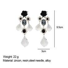 Cpop Zircon Gothic Earrings Women Black Glass Flower Dangle Earrings Vintage Jewelry Stainless Steel Needle Women Accessories