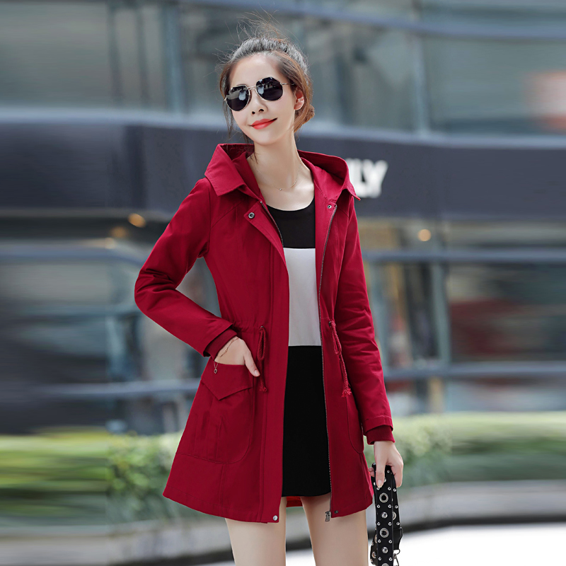 2019 New Women Casual Long Sleeve Cotton   Trench   Coat Spring Autumn Solid Pockets Zipper Hooded Outerwear Plus Size M-3XL
