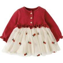 Bebek bebek giysileri yenidoğan vaftiz elbise kızlar için giyim çilek nakış prenses parti noel vaftiz elbiseler