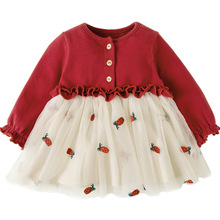 Infantil roupas do bebê recém nascido vestido de batismo para meninas roupas de morango bordado princesa festa de natal vestidos de batismo