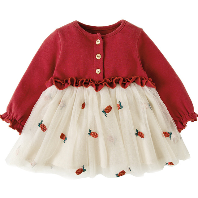 Niemowlę ubranka dla niemowląt noworodek chrzest sukienka dla dziewczynek odzież haftowana truskawka Princess Party świąteczne sukienki do chrztu