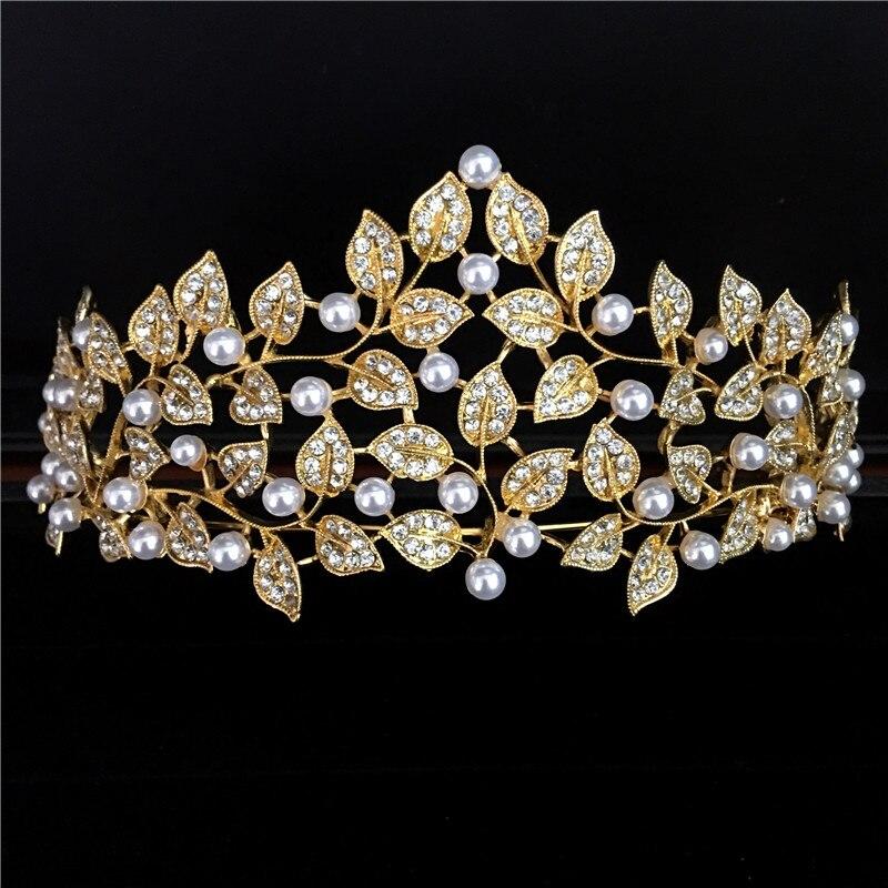 Grande europeo Royal Crown oro rhinestone imitación tiara super grande  Quinceañera corona boda pelo accesorios corona 9c42894e67a1