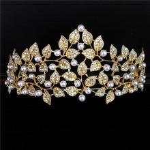 Royal crown rhinestone tiara de diamantes de imitación de oro Europea grande super gran quinceañera corona pelo de la boda accesorios de la corona