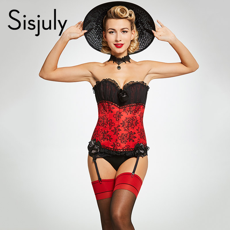 Sisjuly vintage   corsets   women lace up patchwork geometric   corsets   sexy retro polyester girls party bowknot   bustiers   and   corsets