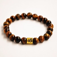 12pcs/Lot gold 12 Zodiac Sign Constellation Horoscope Astrology Charms Beads Bracelet Elastic tiger eye