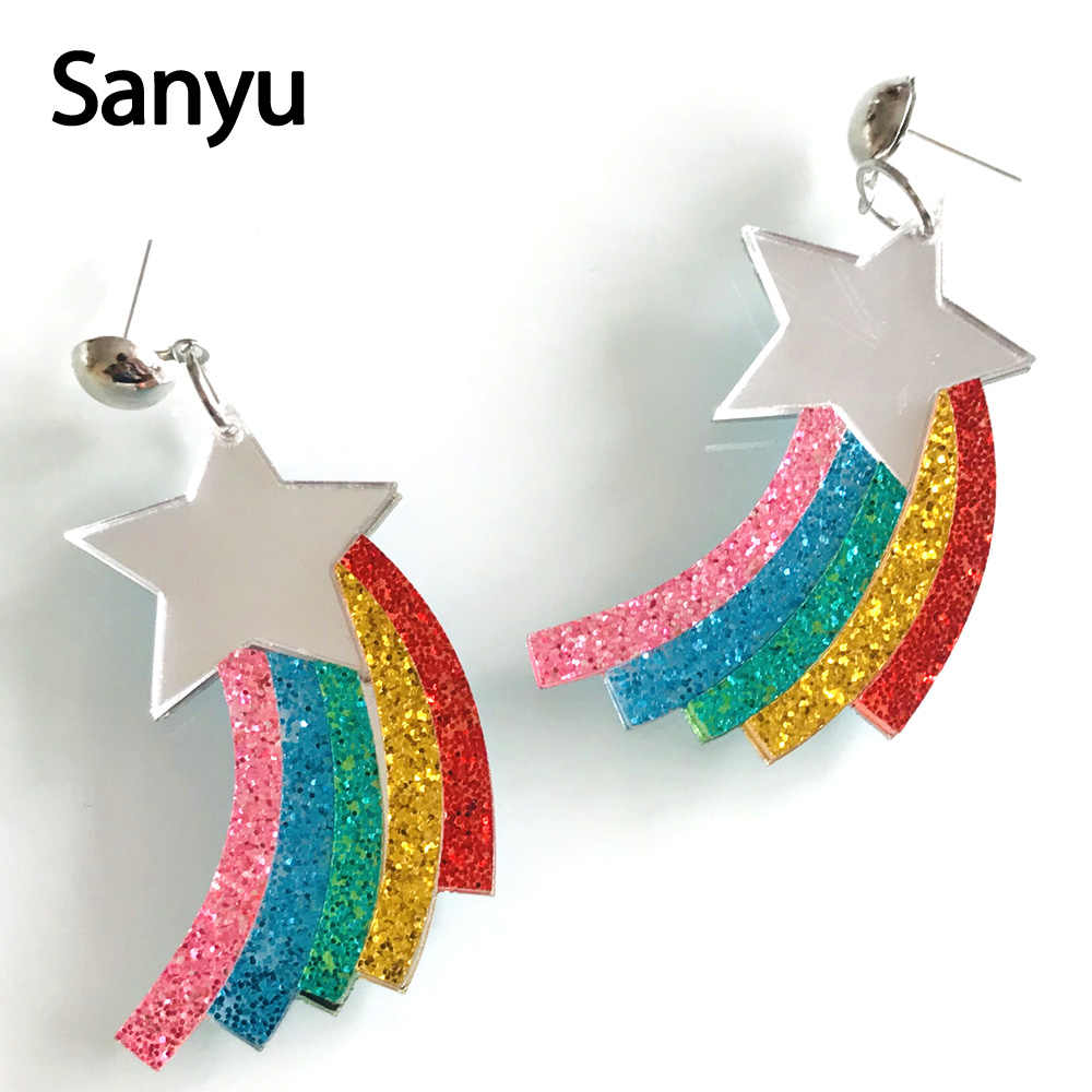 Hot Sale Colorful Shining Stars Rainbow Acyrlic Drop Earrings Fashion Lovely Dangle Earrings Jewelry for Female Trendy Brincos