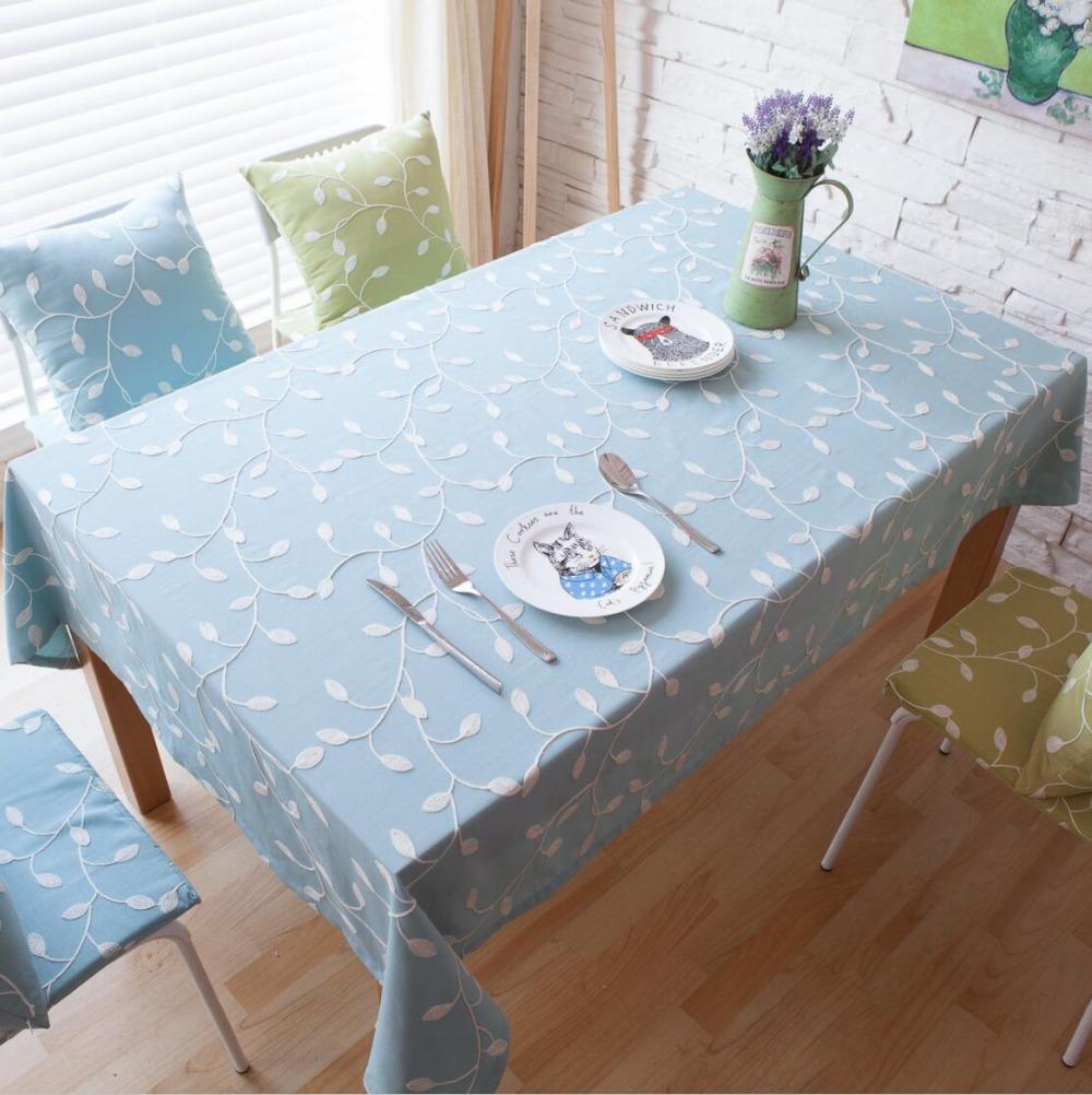 algodn lino del pao de tabla cuadrado azul bordado ropa de mesa mantel para la mesa