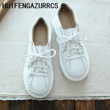 HUIFENGAZURRCS-Nuevo Retro femenino-Vintage cuero de ganado super-suave cómodo cuero super-suave suela literaria solo zapatos