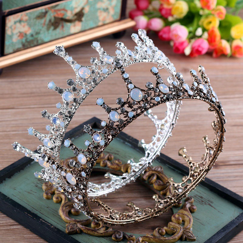 Round Large Queen Tiara Crown Crystal Rhinestone Vintage Baroque Headband Hair  Jewelry Wedding Bride Headdress Costume Headpiece 6c86521df5a4
