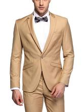 New Arrival Slim Fit Groom Tuxedos Notch Lapel Men's Suit Khaki Groomsman Wedding/Dinner Suits (Jacket+Pants)